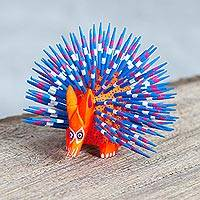 Copal wood alebrije, 'Cute Porcupine in Red' - Copal Wood Alebrije Porcupine Sculpture in Red and Blue