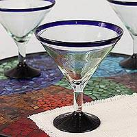 Blown glass martini glasses 'Cobalt Contrasts' (set of 6) - Eco Friendly Set of Six Hand Blown Martini Glasses