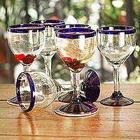 Blown glass wine goblets 'Cobalt Contrasts' (set of 6) - Set of Six Eco Friendly Hand Blown Wine Goblets