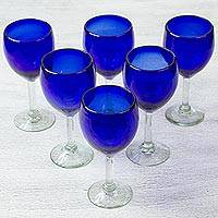 Blown glass wine glasses, 'Blue Envy' (set of 6) - Six Eco-Friendly Hand Blown Deep Blue Wine Glasses