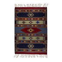 Wool area rug, 'Oaxacan Happiness' (6.5x10) - 7x10 Wool Area Rug with Multicolored Geometric Motifs