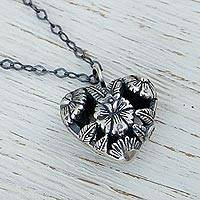 Sterling silver pendant necklace, 'Isthmus Flowers' - Sterling Silver Heart Shaped Floral Necklace from Mexico