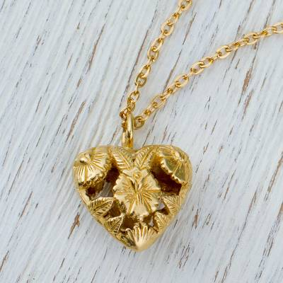 Gold plated pendant necklace, 'Isthmus Canopy' - Gold Plated Garnet Floral Heart Pendant Necklace from Mexico