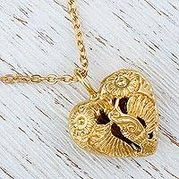 Gold plated pendant necklace, 'Oaxaca Hummingbird' - Gold Plated Hummingbird Heart Pendant Necklace from Mexico