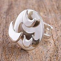 Sterling silver wrap ring, 'Powerful Moons With You' - Taxco 925 Sterling Silver Moon Wrap Ring from Mexico