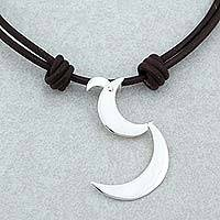 Sterling silver pendant necklace, 'Waka Moons' - Taxco 925 Sterling Silver Moon Pendant Necklace from Mexico