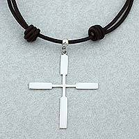 Sterling silver pendant necklace, 'Taxco Cross' - Taxco 925 Sterling Silver Cross Pendant Necklace from Mexico