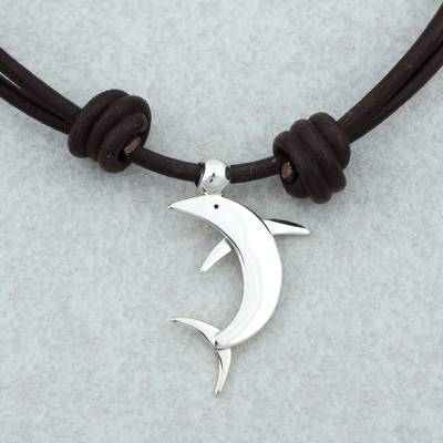 Sterling silver pendant necklace, 'Dolphin' - Taxco Sterling Silver Dolphin Pendant Necklace from Mexico