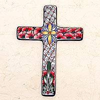 Ceramic wall cross, 'Flower Field' - Multicolored Ceramic Mexican Wall Cross with Floral Motifs