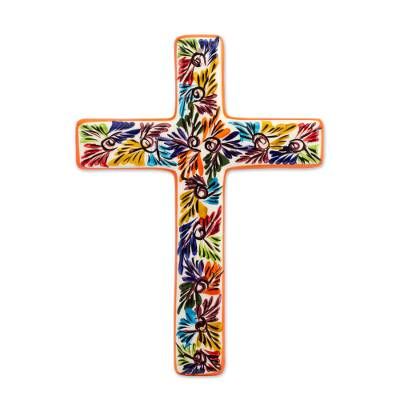 Ceramic wall cross, 'Spiritual Fireworks' - Artisan Crafted Multicolored Ceramic Wall Cross from Mexico