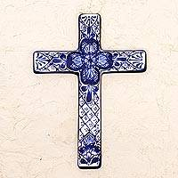 Ceramic wall cross, 'Talavera Flower' - Hand Crafted Talavera Style Ceramic Wall Cross from Mexico