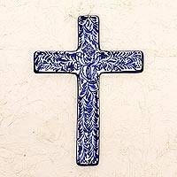 Ceramic wall cross, 'Blue Leaves' - Blue and Ivory Artisan Crafted Ceramic Mexican Wall Cross