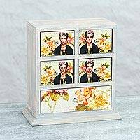Decoupage wood jewelry box, 'Frida Flowers' - Mexican Decoupage Pinewood Floral Frida Kahlo Jewelry Box