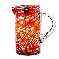 Blown glass pitcher, 'Crimson Serpentines' - Hand Blown Recycled Glass 59oz Pitcher in Red from Mexico