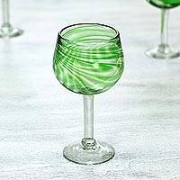 Blown wine glasses, 'Emerald Essence' (set of 6) - Set of 6 Recycled Blown Wine Glasses in Green from Mexico