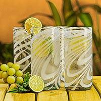 Featured review for Blown glass highball glasses, Whirling White (set of 6)