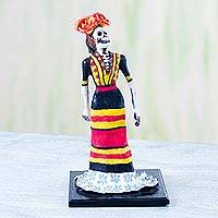 Papier mache figurine, 'Fiesta Catrina' - Papier Mache Figurine of a Skeleton in a Dress from Mexico