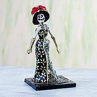 Papier mache figurine, 'Catrina in a Floral Dress' - Papier Mache Figurine of a Skeleton in a Floral Dress