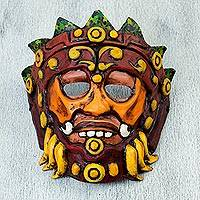 Papier mache mask, 'Huehueteotl in Red' - Papier Mache Mask of an Aztec God in Red from Mexico