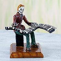 Papier mache figurine, 'Catrin Pianist' - Papier Mache Figurine of a Skeleton Pianist from Mexico