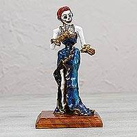 Papier mache figurine, 'Catrina Singer' - Papier Mache Figurine of a Mexican Skeleton in a Blue Dress