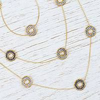 Gold-plated long station necklace, 'Sparkling Morning' - Mexican Gold Plated Station Necklace with Glass Beads