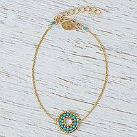 Gold plated beaded pendant bracelet, 'Simple Pleasure in Turquoise' - Handmade Gold Plated Pendant Bracelet with Turquoise Beads