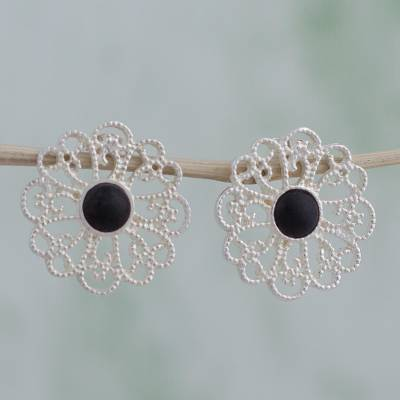 Sterling silver drop earrings, 'Sparkling Dahlia' - Sterling Silver and Ceramic Drop Earrings from Mexico