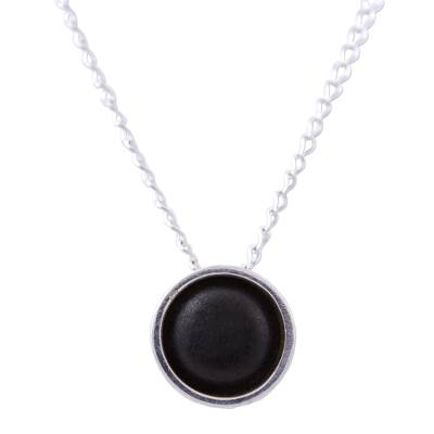 Sterling silver pendant necklace, 'New Oaxacan Moon' - Sterling Silver and Ceramic Pendant Necklace from Mexico