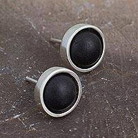 Sterling silver stud earrings, 'New Oaxacan Moon' - Sterling Silver and Black Ceramic Stud Earrings from Mexico