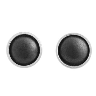 Sterling Silver and Black Ceramic Stud Earrings from Mexico