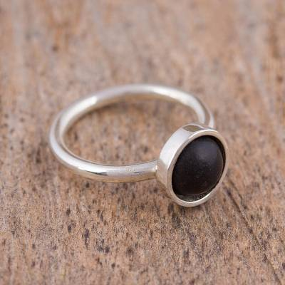 Circular Sterling Silver and Ceramic Ring from Mexico