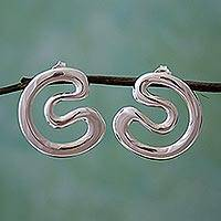 Sterling silver drop earrings, 'Taxco Waves' - Taxco 925 Sterling Silver Drop Earrings from Mexico