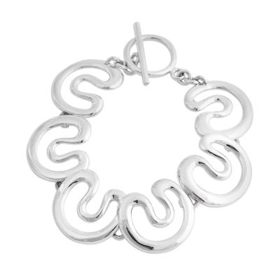 Taxco Sterling Silver Modern Link Bracelet from Mexico