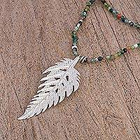 Agate long pendant necklace, 'Enchanted Leaf' - Agate and Sterling Silver Pendant Necklace from Mexico