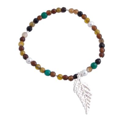 Agate and 925 Sterling Silver Pendant Bracelet from Mexico