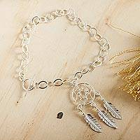 Sterling silver charm bracelet, 'Pleasant Dreams' - Sterling Silver Dream Catcher Pendant Bracelet from Mexico