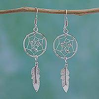 Sterling silver dangle earrings, 'Pleasant Dreams' - Sterling Silver Dream Catcher Dangle Earrings from Mexico
