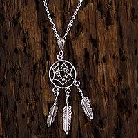 Sterling silver pendant necklace, 'Pleasant Daydreams' - Sterling Silver Dream Catcher Pendant Necklace from Mexico