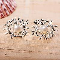 Cultured pearl drop earrings, 'Glowing Coral' - Cultured Pearl and Sterling Silver Drop Earrings from Mexico