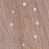 Sterling silver wrap necklace, 'Taxco Ropes' - 925 Sterling Silver Spiral Station Wrap Necklace from Mexico