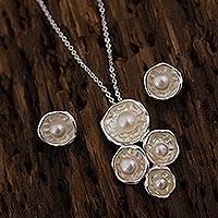 Cultured pearl jewelry set, 'Glowing Bubbles' - Cultured Pearl and Sterling Silver Jewelry Set from Mexico