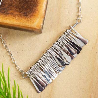 Sterling silver pendant necklace, 'Chime Garland' - Sterling Silver Pendant Necklace by Mexican Artisans