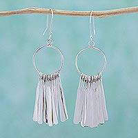 Sterling silver dangle earrings, 'Circular Chimes' - Sterling Silver Circular Dangle Earrings by Mexican Artisans