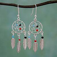 Glass beaded sterling silver dangle earrings, 'Colorful Dreams' - 925 Sterling Silver and Glass Bead Dream Catcher Earrings
