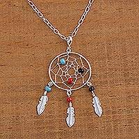 Sterling silver pendant necklace, 'Colorful Dreams' - Sterling Silver and Glass Dream Catcher Necklace from Mexico