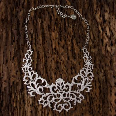 Sterling silver statement necklace, 'Twisting Branches' - Mexican Sterling Silver Statement Necklace with Vine Motifs