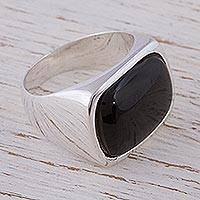 Onyx signet ring, 'Night Gleam' - Taxco Onyx and Sterling Silver Signet Ring from Mexico