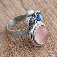 Rose quartz and labradorite cocktail ring, 'Energy in Unity' - Rose Quartz and Labradorite Cocktail Ring from Mexico