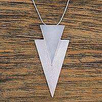 Sterling silver pendant necklace, 'Striking Arrow' - Sterling Silver Triangular Pendant Necklace from Mexico